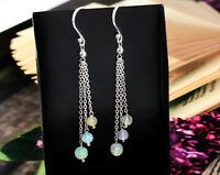 Opal Dangling Earrings 925 Sterling Silver Handmade Natural Beaded Women Gift