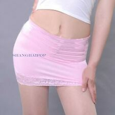 Bodycon Bandage Skirt Lace Sheer Micro Mini Booty Tight Erotic White/Pink Hot