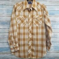 Vintage 70s Mens Western Shirt 15.5 Tan Brown Gold Plaid White Pearl Snap Button