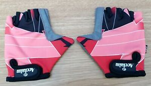 ACCLAIM Unisex Cycle Fitness Gloves Sz Small Red Pattern Lycra Back Padded Palms
