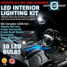 Porsche 911 997 2004 & gt Blanco LED Interior Set luz bombillas de xenón Smd