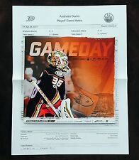 2017 Anaheim Ducks John Gibson Stanley Cup Playoff Program. Oilers, Game Two.