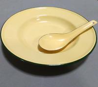"Set 8"" Yellow enamel camping round dishes spoon enamelware bowl Plates vintage"