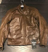 Triumph Brown Leather Barbour Jacket Size MEDIUM