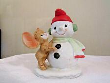 Homco Christmas Snowman and Mouse Figurine #8905