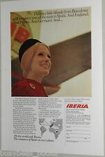 1970 IBERIA AIRLINES advertisement, Spanish Airline, Smiling Stewardess