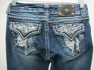 M9256 VTG Women's Miss Me Embellished Distressed Boot Cut Jeans Size 27