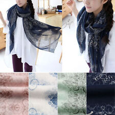 Écharpes et châles foulard bleu en mousseline pour femme