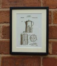 Patent Drawing KITCHEN VINTAGE RETRO COFFEE POT MOUNTED PRINT 1921 Xmas Gift