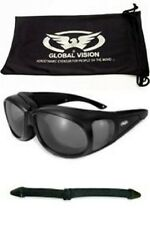Outfitter Motorcycle Glasses Smoke Fit Over Prescription Glasses + Pouch Strap