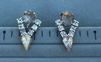 """EARRINGS screw back vintage , Czech glass, white crystals"""""""""""