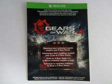 New! Gears of War 4 Emblem & 3 Gear Packs DLC Card - From Crimson Omen