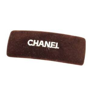 CHANEL Authentic Velour Logo Barrette Hair clip Brown Used from Japan