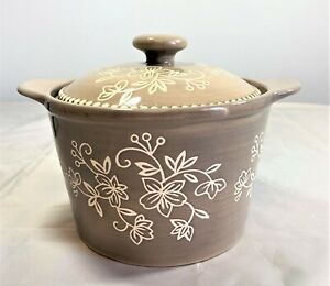 TEMPTATIONS BY TARA Floral Lace Glazed Ceramic Butter Dish Crock Taupe w/defect
