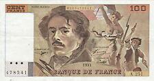 100 FRANCS DELACROIX 1993  A 251  accent sur e  état  PAS EPINGLAGE