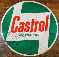"""CASTROL MOTOR OIL PATENTED GREEN RED WHITE 14"""" ROUND HEAVY DUTY METAL ADV SIGN"""