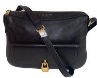 $450 New MARC JACOBS Lock That LEATHER  Messenger Bag Handbag Black M0014783-001