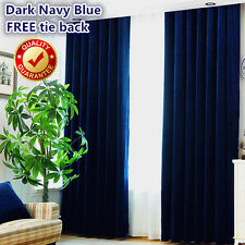 Pair of Quality Linen Velvet Navy Blue Blockout Blackout Eyelet Curtains Drapes