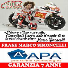 ADESIVO Stickers FRASE SIMONCELLI 58  MOTO CASCO SERBATOIO CODONE APA ADESIVO