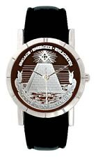 Mason Masonic Symbol Mens Womens Genuine Leather Band Quartz Wrist Watch SA2346