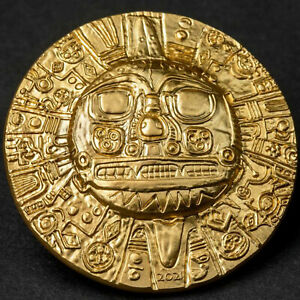 INCA SUN GOD - 1oz Silver Ultra High Relief Coin with Gold Gilding 2021 Palau $5