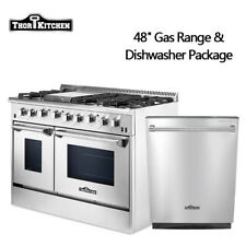 "Thor Kitchen 48""Gas Range 2 ovens built in 24inch dishwasher Stainless Steel"