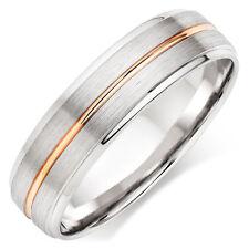 MENS 10K TWO TONE GOLD WEDDING BANDS,ROSE GOLD 6MM SATIN FINISH WEDDING RINGS