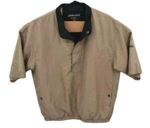DryJoys FootJoy FJ Mens 1/4 Zip Pullover Rain Jacket Sz L Tan Brown Short Sleeve