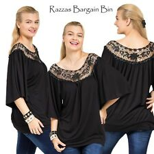 New Black Top With Crochet Neck Plus Size 16/1XL (9636)IZ