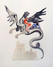Salvador Dali 1960 DIVINE COMEDY INFERNO #17 Color Woodcut Wood Block Engraving