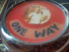 vintage thick glass paper weight says one way has old picture of child