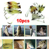 10pc/Set Soft Lifelike Shrimp Prawn Fishing Lures Luminous Bead Hook Bait 7.5cm
