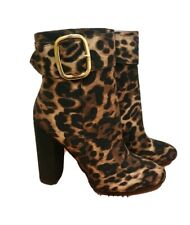Moda In Pelle Tan Leopard Print Buckle High Ankle Boots RRP £120 Size 4