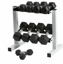 CAP 150 Lb Rubber Hex Dumbbell Weight Set, 5-25 Lb With Rack, Weight Lifting NEW