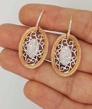 14K 585 ROSE GOLD ROUND DIAMOND FLOWER FILIGREE DESIGNER RUSSIAN STYLE EARRINGS