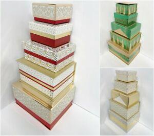 SET OF 5 RECTANGLE GIFT BOXES METALLIC GLITTER PATTERN PRINT STORAGE PRESENT