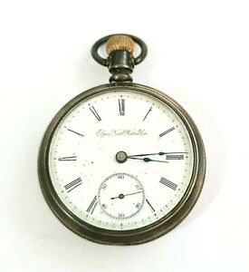 1897 US Silver Plated Open Face Gents Half Hunter Pocket Watch by Elgin (AHB)