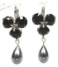 SoHo® Ohrhänger Kristalle black gothik jet schwarz & vintage Perle grau silber