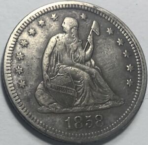 1858 SEATED 25C WITH FULL LIBERTY/SHIELD LINES/FEATHERS ON EAGLE NICE TYPE COIN
