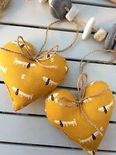 2 Colgador de corazón azafrán amarillo ocre Acolchado mostaza oro Salchicha Perros lazo a la espalda