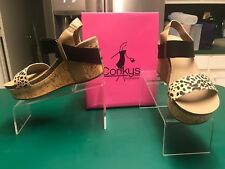 Corkys Size 10 Womens Cheetah Thick Leather Strap Wedge Heels Sandal Open Toe