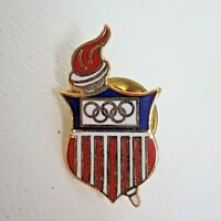 Vintage 1985 Designs By Margarita Red White Blue Torch Shield Olympic Pin