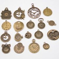 18 PCS Mixed Vintage Metal Zinc Alloy Clock Charms for Jewelry Making