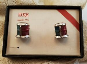 Vintage Silver Tone Barrel Signed Hickok Blue & Red Cufflinks - USA