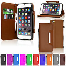 Luxury Leather Flip Wallet Case Cover For Mobile Phones With Free Tempered Glass