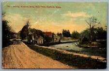 Postcard New Bedford MA c1913 The Landing Russells Mills River & Dirt Road View