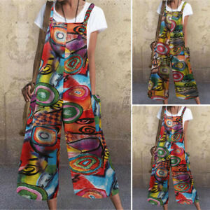 Womens Dungarees Strappy Jumpsuits Loose Beach Overalls Printed Baggy Playsuits