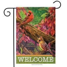 "Red Rhapsody Cardinals Fall Welcome Garden Flag 2 Sided Birds 12.5"" x 18"""