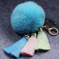 NEW Real Rabbit Fur Ball PomPom Car Phone Keychain Handbag Charm Key Ring