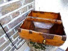 Vintage Caja de Madera con Mango-vieja caja de madera cesta con mango